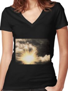 Angel in the Dark Sky Women's Fitted V-Neck T-Shirt