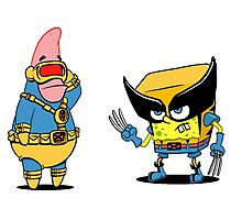 spongebob and patrick-x men Photographic Print