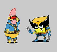 spongebob and patrick-x men by punturex
