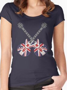 British Mod Union Jack Guitars Women's Fitted Scoop T-Shirt