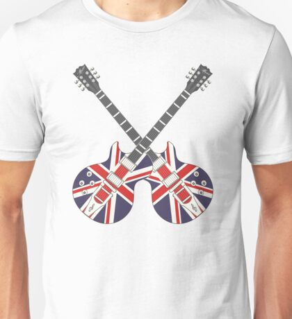 British Mod Union Jack Guitars Unisex T-Shirt