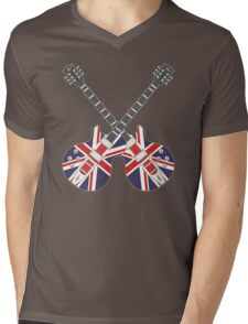 British Mod Union Jack Guitars Mens V-Neck T-Shirt