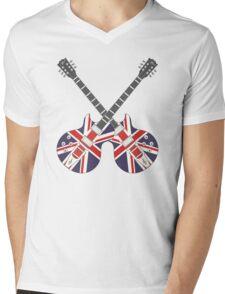 British Mod Union Jack Guitars Mens V-Neck T-Shirt