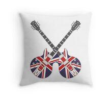 British Mod Union Jack Guitars Throw Pillow