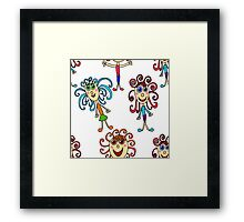 seamless pattern with curly girls on white Framed Print
