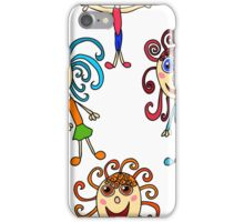 seamless pattern with curly girls on white iPhone Case/Skin