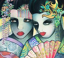 Geisha Girls Holding a Fan by kennasato