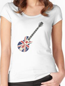 Mod British Union Jack Guitar Women's Fitted Scoop T-Shirt