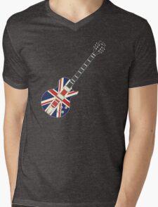 Mod British Union Jack Guitar Mens V-Neck T-Shirt