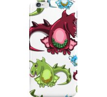 seamless pattern with dragons on the white background iPhone Case/Skin