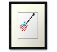 USA Flag Guitar Framed Print