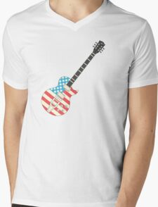 USA Flag Guitar Mens V-Neck T-Shirt