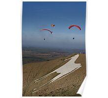 Westbury White Horse Paraglider Poster