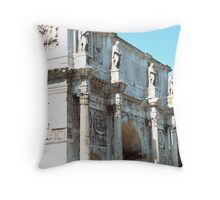 Statues on The Arch of Constantine, Rome, Italy Throw Pillow