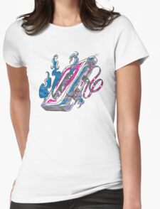 Music Tape Cassette Flames Womens Fitted T-Shirt