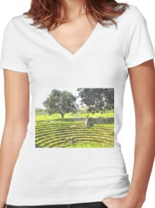 Paestum: archaeological site theater Women's Fitted V-Neck T-Shirt
