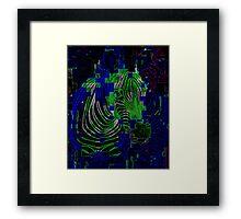 neon pixel zebra Framed Print