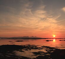 Sunst over Eigg from Rhu in Arisaig. by John Cameron