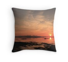 Sunst over Eigg from Rhu in Arisaig. Throw Pillow