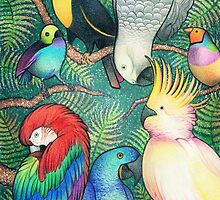 Parrots in the trees by kennasato