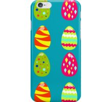 seamless pattern with easter eggs on the blue background iPhone Case/Skin