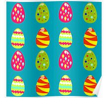 seamless pattern with easter eggs on the blue background Poster