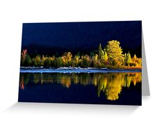 Moose Lake, reflections, in fall. Jasper National Park, Alberta, Canada. Greeting Card