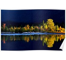 Moose Lake, reflections, in fall. Jasper National Park, Alberta, Canada. Poster