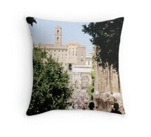 Walking Through Roman Forum, Rome, Italy Throw Pillow