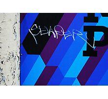 Blue Graffiti Photographic Print