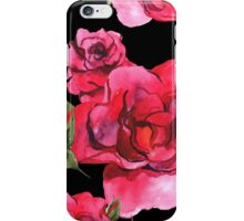 Watercolor Roses on Black iPhone Case/Skin