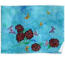 Red Flowers with Butterflies Poster