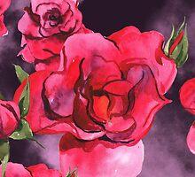 Watercolor Roses on Smoky Purple by pjwuebker