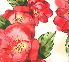 Watercolor Red Roses by pjwuebker