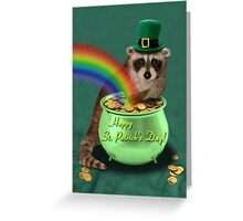 St Patrick's Day Raccoon Greeting Card