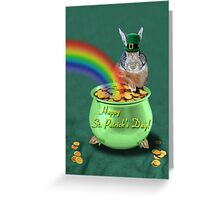 St Patrick's Day Bunny Rabbit Greeting Card