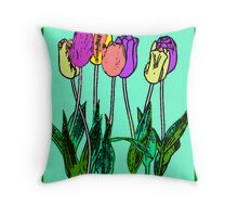 Watercolor Spring Tulips Throw Pillow