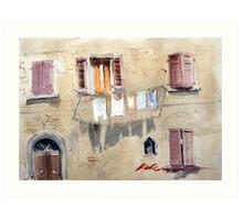 The Washing Line. Volterra, Tuscany, Italy Art Print