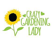 Crazy Gardening Lady Photographic Print