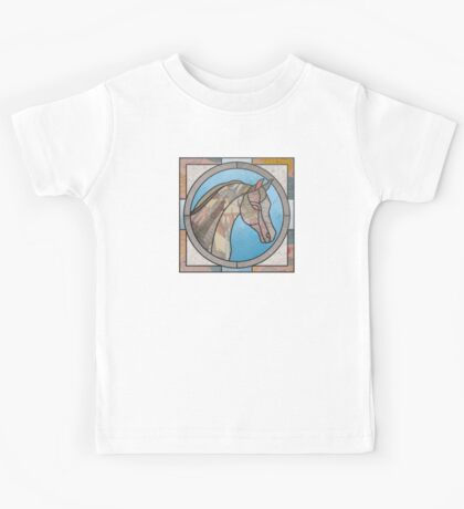 Stained Glass Map Horse Kids Tee