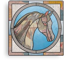 Stained Glass Map Horse Canvas Print