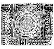 Mandala on Weaved Zentangle Patterns Poster