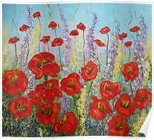 Red Poppy flowers, abstract art, wall art, home decor original painting Poster