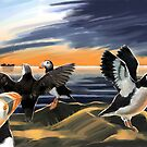 Puffin Sunset by EnPassant