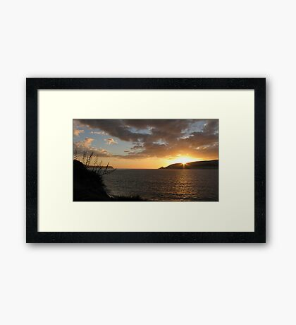 Sunset and flax flowers Framed Print