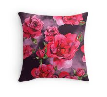 Watercolor Red Roses Throw Pillow