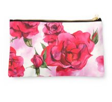 Watercolor Red Roses Studio Pouch