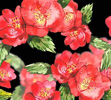 Watercolor Red Roses on Black by pjwuebker