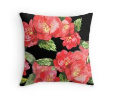 Watercolor Red Roses on Black Throw Pillow