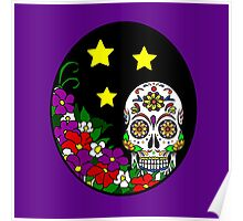 Sugar Skull and Flowers Poster